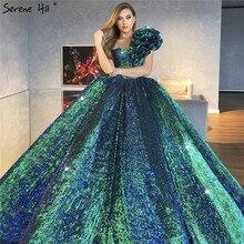 Dubai Green Lovertjes Bling Luxe Trouwjurk 2020 Een Schouder Sexy Mouwloze Bruidsjurken HA2312 Cusotm Made