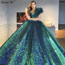 Dubai Green Sequined Bling Luxury Wedding Dress 2020 One Shoulder Sexy Sleeveless Bridal Gowns HA2312 Cusotm Made