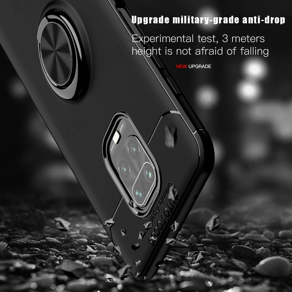 KEYSION Shockproof Case For Xiaomi Redmi Note 9s 9 Pro Soft Matte Silicone Metal Ring Back Phone Cover for Redmi Note 9 Pro Max