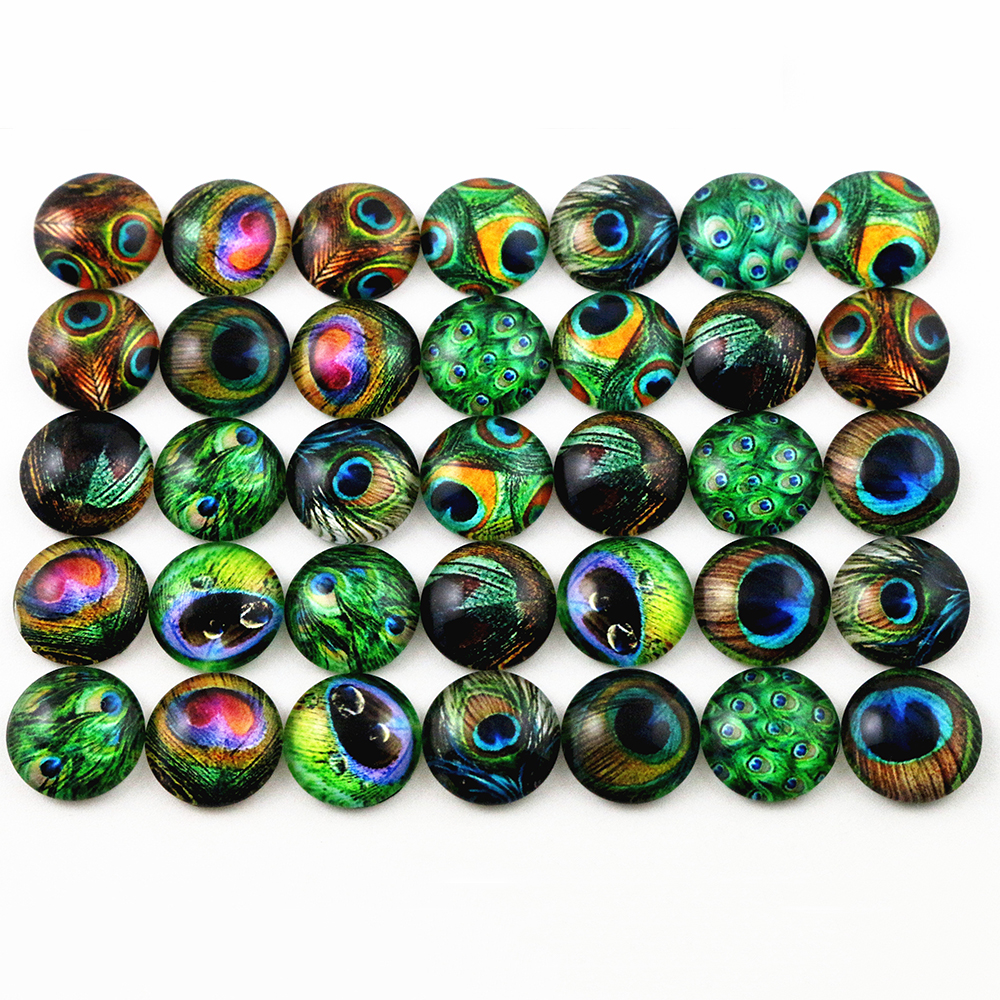 50pcs 12mm  Mixed Handmade Photo Glass Cabochons  (G2-26)