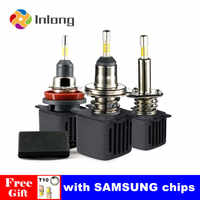 Inlong H4 H7 Ampoule Led H11 Led Voiture Phare D2S D4S H1 H8 9005 D3S 9006 HB4 D1S Auto Voiture lampe à Led 10000LM 6500K Phares Antibrouillard 12V
