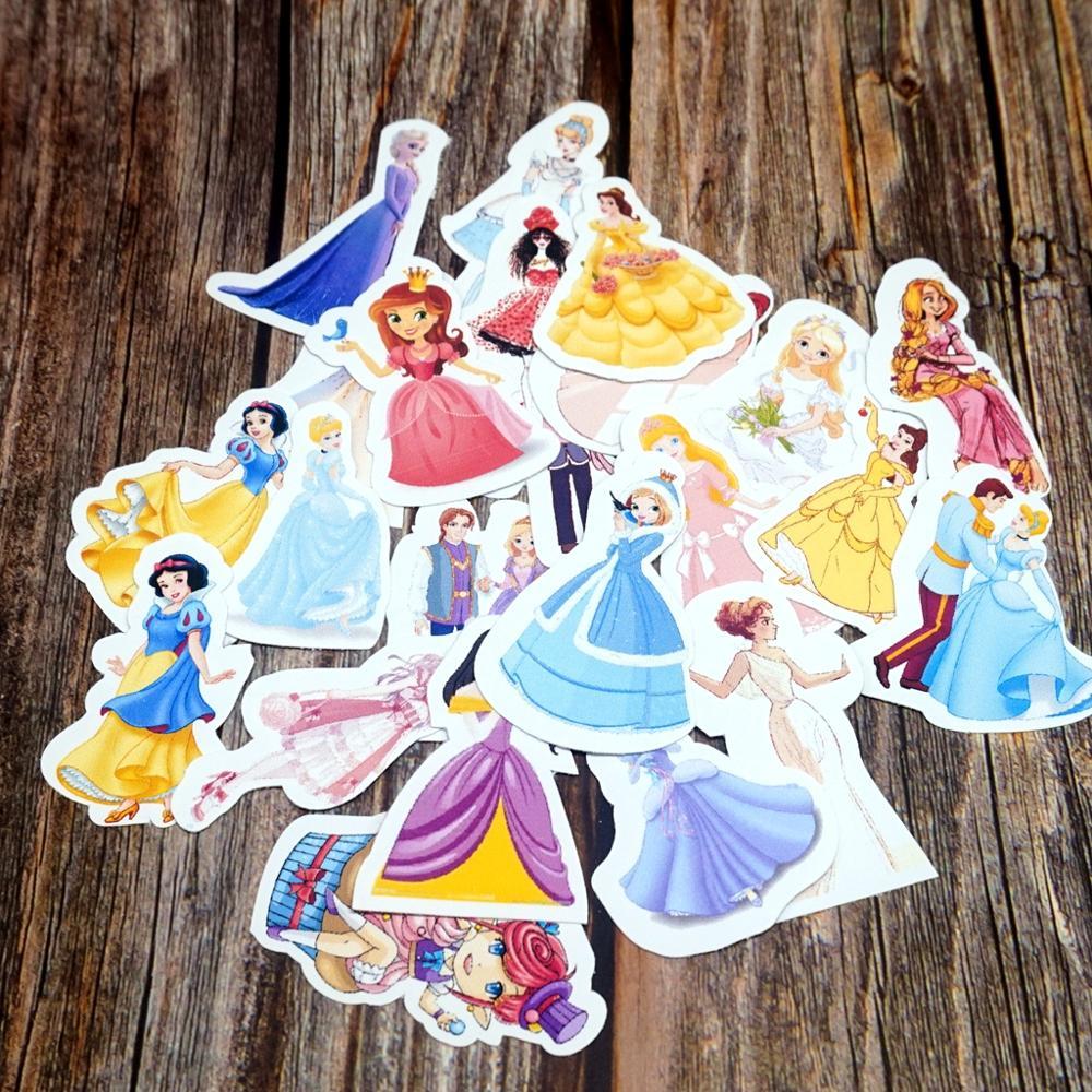 23PCS/Lot Princess Waterproof Stickers DIY Diary Laptop Phone Suitcase Stickers Kids Girls Students Cute Cartoon Gift Stickers