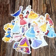 Adesivos princesa impermeável, adesivos de princesa 23 pçs/lote, diy, diário, laptop, mala, adesivos de presente de desenho animado, alunos, meninas