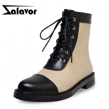 ZALAVOR Real Leather Women Ankle Boots Mixed Color Lacing Round Toe Patchwork Casual Flats Dress Street Women Shoes Size  34-39