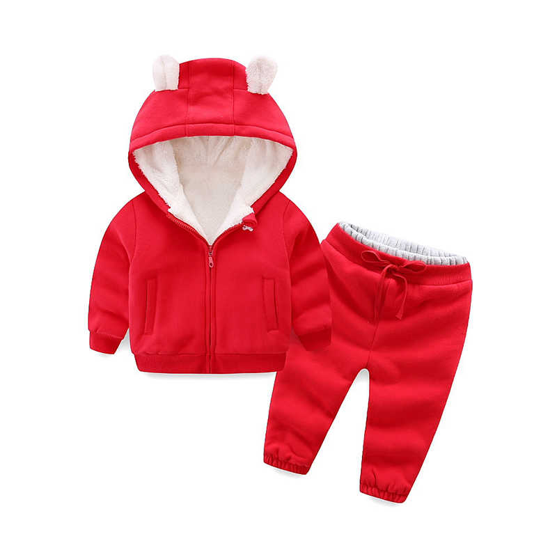 Autumn and winter boys and girls clothes set children plus fleece suit casual warm thick cartoon bear clothing sportswear