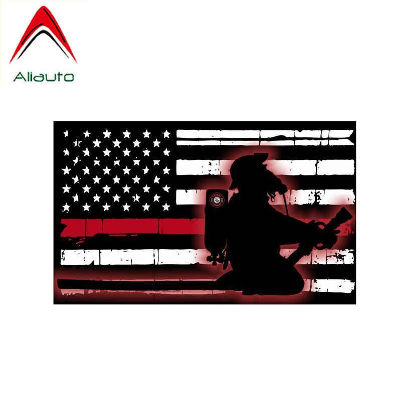Aliauto mode autocollant de voiture drapeau américain pompier décor couverture rayure PVC décalcomanie pour Toyota Hilux Bmw E46 Chevrolet, 15cm * 9cm