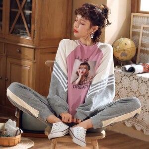 Image 4 - Jrmissli 코튼 잠옷 여성 가을 겨울 긴 소매 플러스 사이즈 잠옷 파자마 세트 라운지 세트 여성 잠옷 가정 의류
