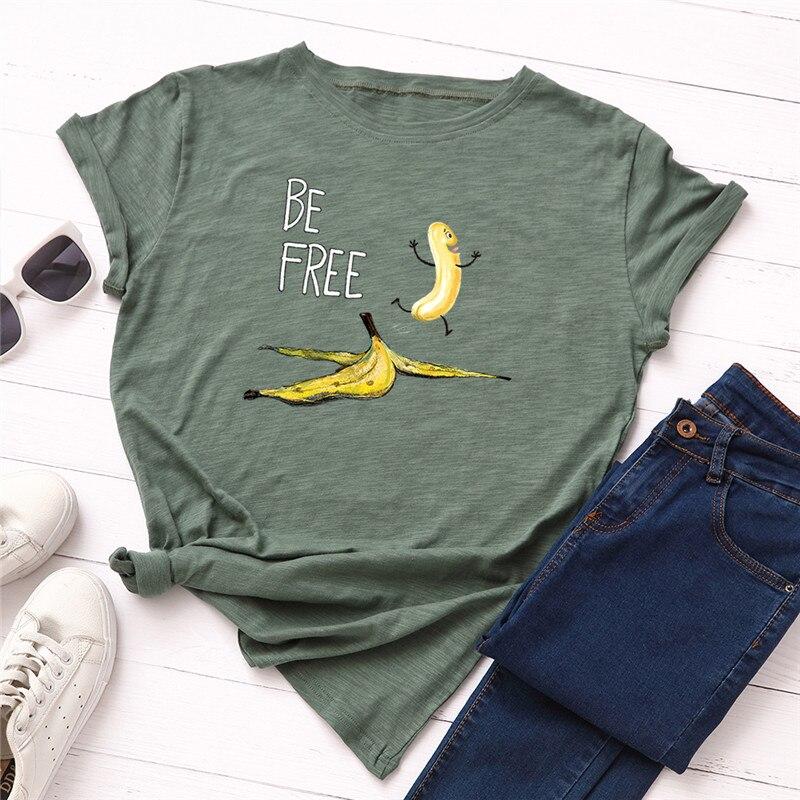 Plus Size S-5XL New Banana Print T Shirt Women 100%Cotton O Neck Short Sleeve Summer Pink Tops Women TShirt Funny T Shirts