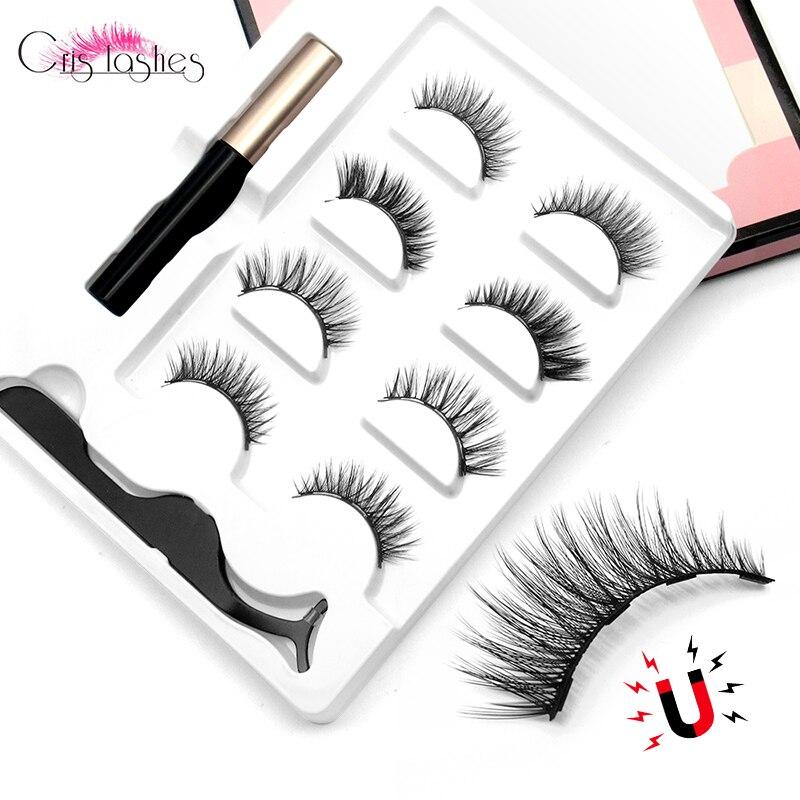 Crislashes 4 Pairs Magnetic Eyelashes Set With 4 Magnetic Lashes Magnet Liquid Eyeliner Tweezers Natural Handmade False Eyelash