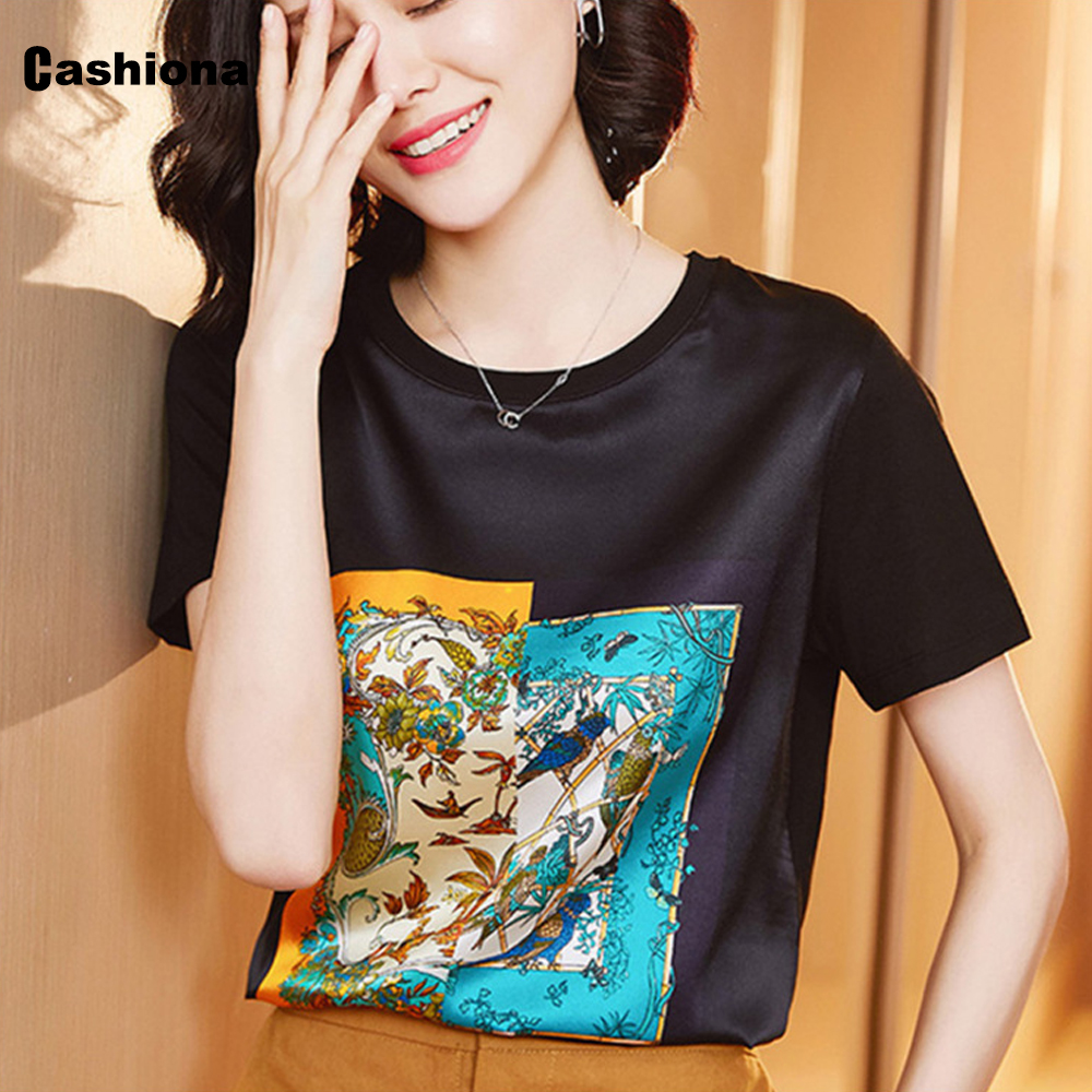 Plus size 3xl Female Top Short Sleeve Ladies Elegant Print Imitation Silk Korean Tshirt 2020 Summer New Women Casual Shirt Femme