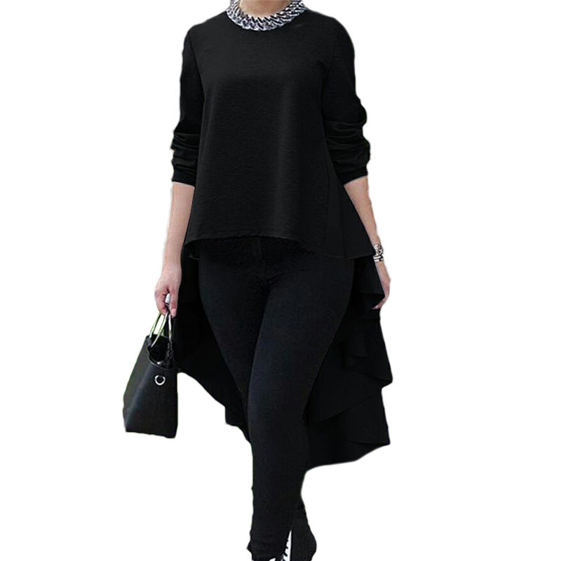 Women's Blouse Long Sleeve Asymmetrical Shirt Tops Shirt Woman Clothes Office Lady Blouse Plus Size Shirts And Blouses