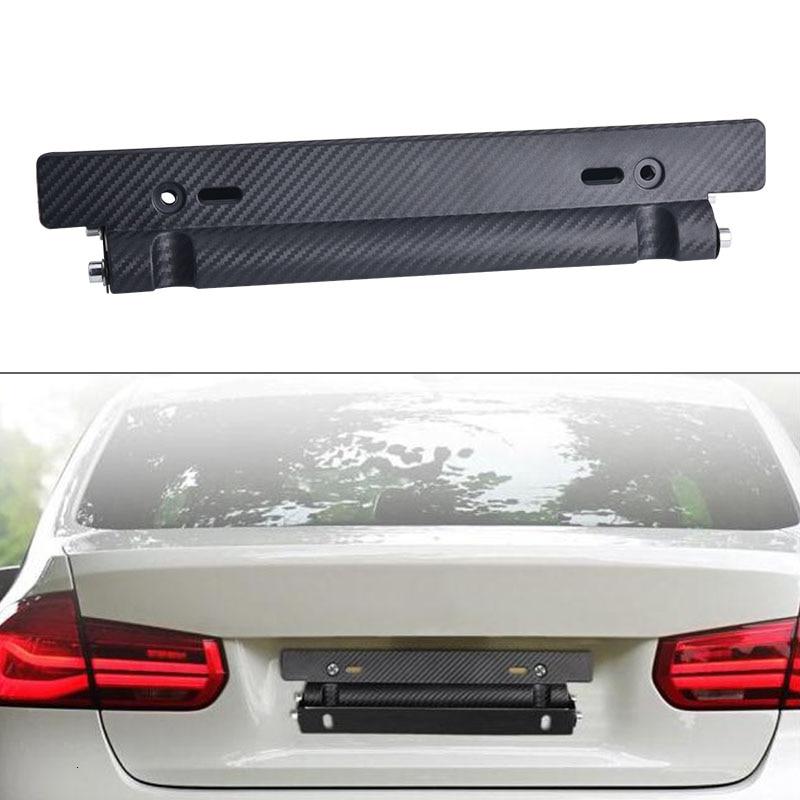 SPEEDWOW Auto Number Plate Mount Bracket Carbon Fiber License Plate Frame Holder Bracket Adjustable