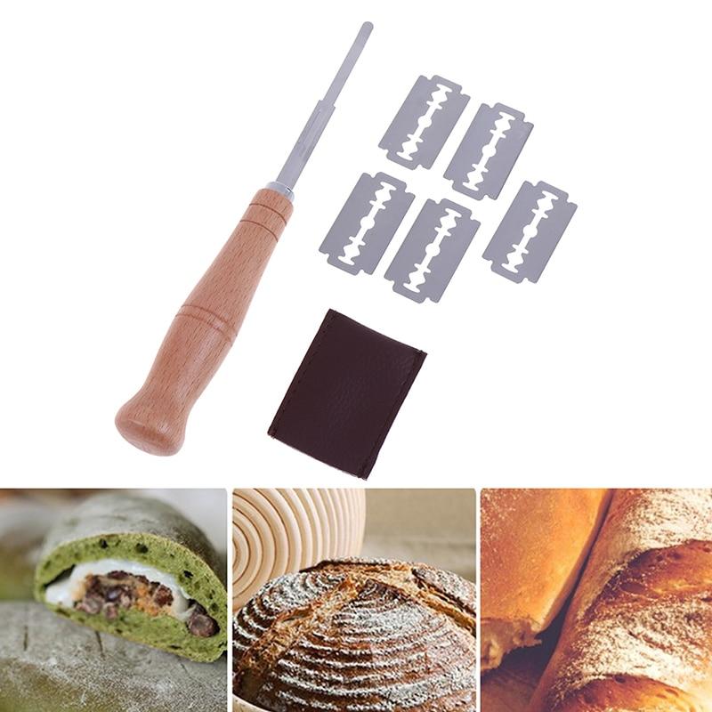 Couteau à pain grattoir de boulangerie/trancheuse/coupe pain de pâte marquant la Lame avec des lames et des outils de Lame de pain en bois de couverture |