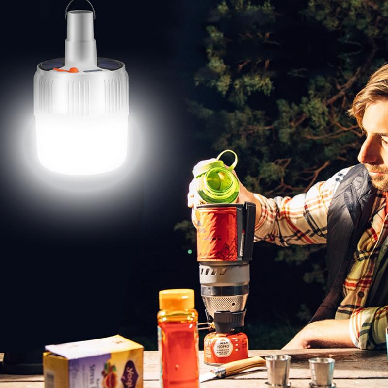 Person - USB Portable Rechargeable Light Bulb For Outdoor Camping Dimmable Lanterns Emergency Lights For BBQ Hanging Night Light US Plug