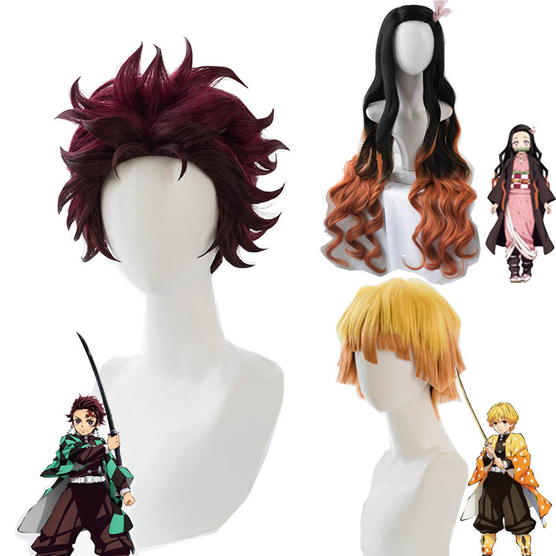 High Quality Nezuko Tanjirou Kamado Wig Demon Slayer Kimetsu No Yaiba Cosplay Wigs Zenitsu Agatsuma Golden Short Hair + Wig Cap