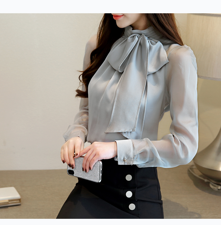 Long Sleeve Tie Bow Chiffon Turtleneck Blouse Shirt 6