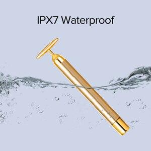 Image 3 - InFace זהב יופי בר זהב מצופה עיסוי ראש אקופרסורה להדק עור עיסוי יבוא IPX7 עמיד למים מקל