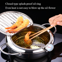 Japanese Deep Frying Pot Tempura Fryer Pan Temperature Control Fried Chicken Pans
