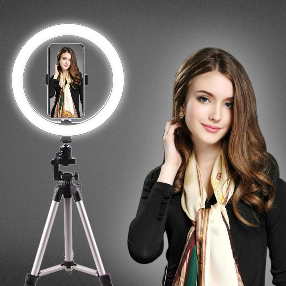 10inch Selfie Ring Light With 39.40inch Tripod Stand & Phone Holder For Makeup Live Stream, LED Camera Ring Light  For Vlog