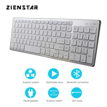 Zienstar Spanish Bluetooth Keyboard,Rechargeable Wireless with Number Pad Full Size Design for Laptop ,PC Tablet,Windows,IOS