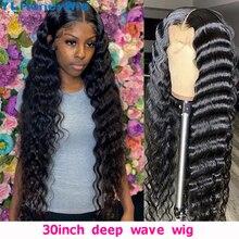 Peruca frontal de renda de onda profunda de 32 polegadas 13x4 lace frente perucas de cabelo humano pré-arrancadas para mulheres frete grátis