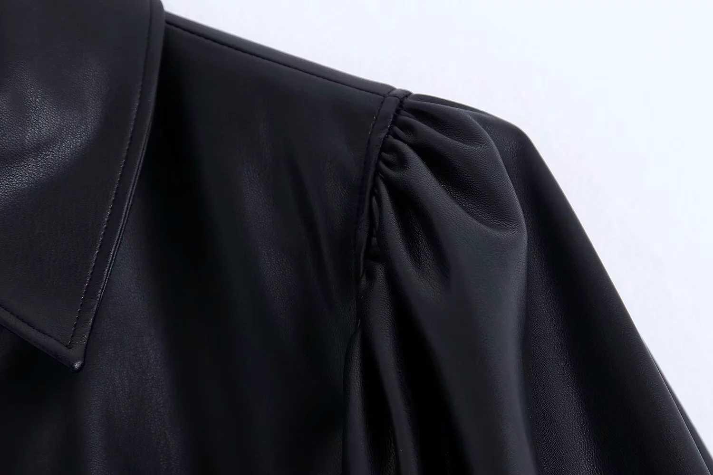 Moda blusa de piel de cuero mujer camisas de manga larga Strettwear blusas de mujer casaul botón suelto blusas de mujer y blosuede blusas