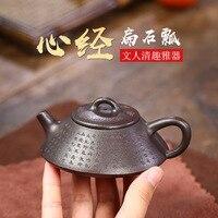 Yixing escuro-vermelho esmaltado cerâmica bule forno de lenha mudar o coração sutra joaninha esboço capacidade bule