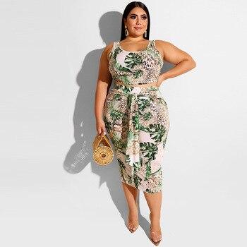 2020 imprimer jupe surdimensionnée ensemble femmes été Sexy deux pièces ensemble rayé grande taille survêtements dames jupe serrée et haut 5XL 1