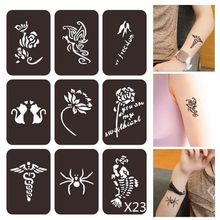 Henna Tattoo Stencil Airbrush Painting Glitter Flower for Pochoirs Pour Peinture 1set
