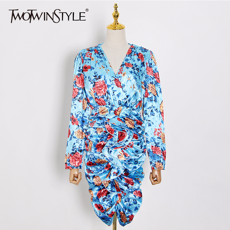 TWOTWINSTYLE Ruched Print Floral Hit Color Dresses For Women V Neck Long Sleeve High Waist Dress Female 2020 Summer Fashion New