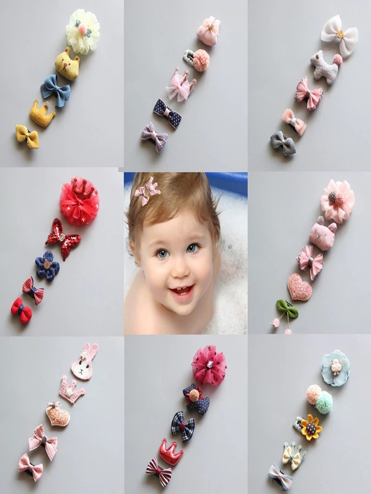 5Pcs/set Cute Baby Hair Clips Glitter Crown Strip Bowknot Princess Handdmade Hairpins