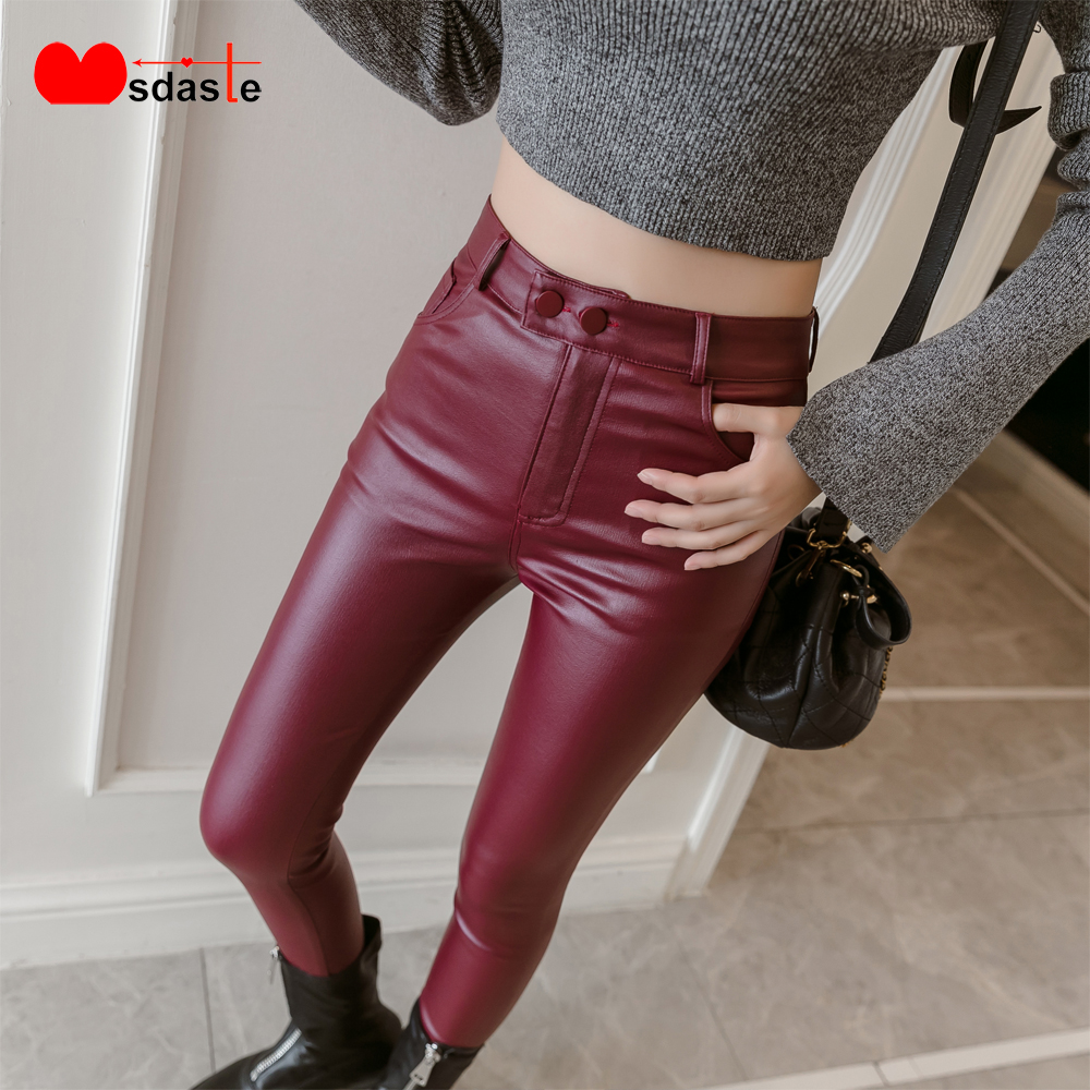 2019 New PU Faux Leather Leggings Women Skinny Silver Red Black Pants Female Lady S-3XL Thin/Fleece Pencil Trousers Mujer