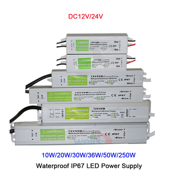 цена на DC12V/24V 10W/20W/30W/36W/50W/250W  LED Driver Transformer Waterproof  IP67 LED Power Supply Adapter for strip light