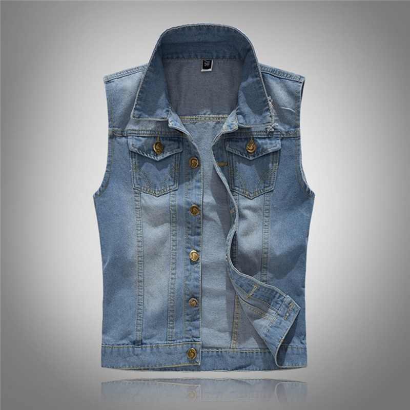 HEFLASHOR 남자 데님 청바지 조끼 코트 찢어진 슬림 포켓 민소매 자 켓 5XL 2020 남성 Streetwear 카우보이 조끼 자 켓
