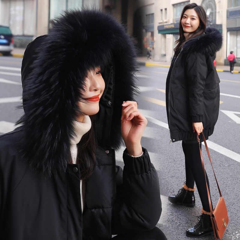 ลง parka Faux ขน Collar Plus ขนาดเสื้อผู้หญิงใหม่เสื้อแจ็คเก็ตผ้าฝ้ายสำหรับฤดูหนาว 2019 818