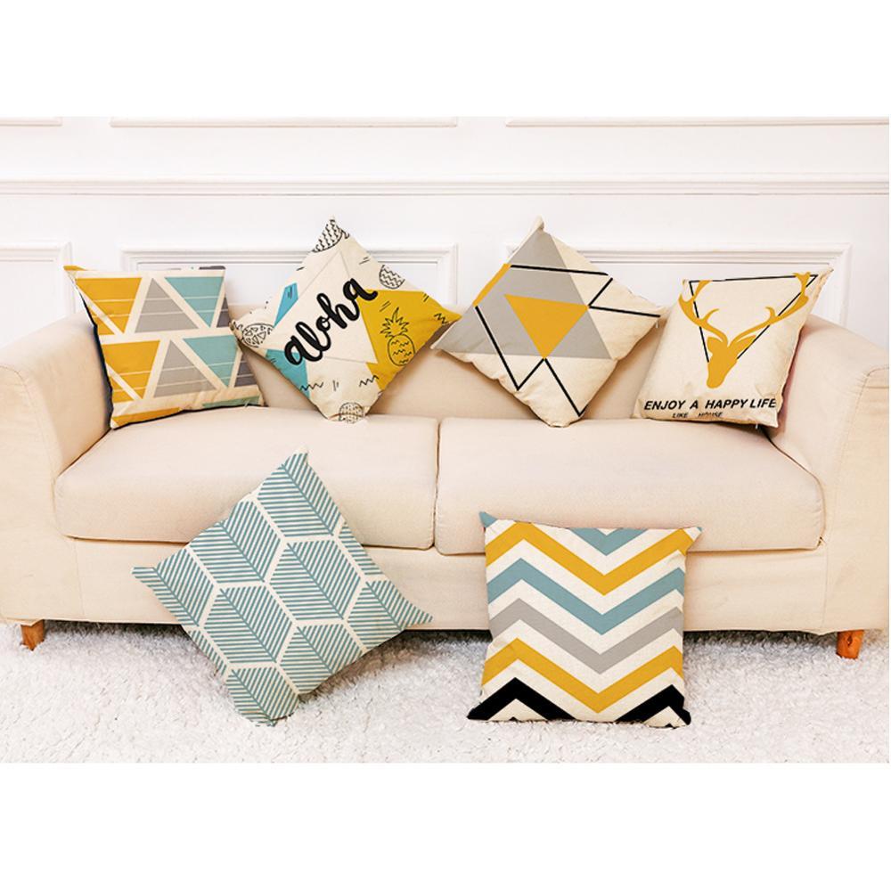 Новый чехол для подушки желтая простота геометрические декоративные подушки Чехол льняной хлопковый креативный домашний декор для дивана ...