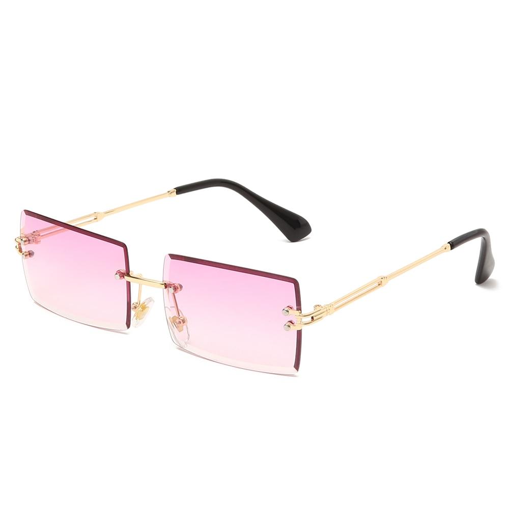 Rimless Sunglasses Shades Uv400-Eyewear Square Small Fashion Women Luxury Brand New
