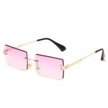 Fashion Square okulary przeciwsłoneczne bezramkowe nowe damskie małe okulary przeciwsłoneczne odcienie luksusowej marki metalowe okulary przeciwsłoneczne UV400 tanie tanio kepdomsa WOMEN Bez oprawek Dla osób dorosłych STOP 38 mm Z poliwęglanu TF800 D 59 mm