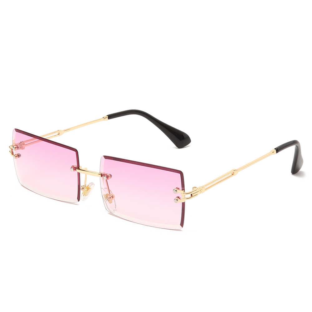 Óculos de sol sem aro uv400, óculos de sol sem aro, moderno, para mulheres, pequenos, de metal, luxuosos