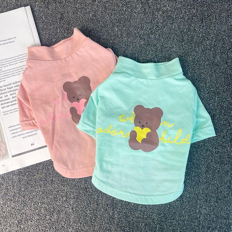 Summer new pet clothes new cotton T-shirt Teddy Bichon Schnauzer peach heart bear pet small dog clothes