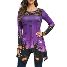 Fashion Ladies Halloween Lace Panel Pumpkin Print T-Shirt Top Round Collar Polyester Long Sleeve T-Shirt For Women Sweatshirt stylish shirt collar slimming flower print long sleeve polyester shirt for men
