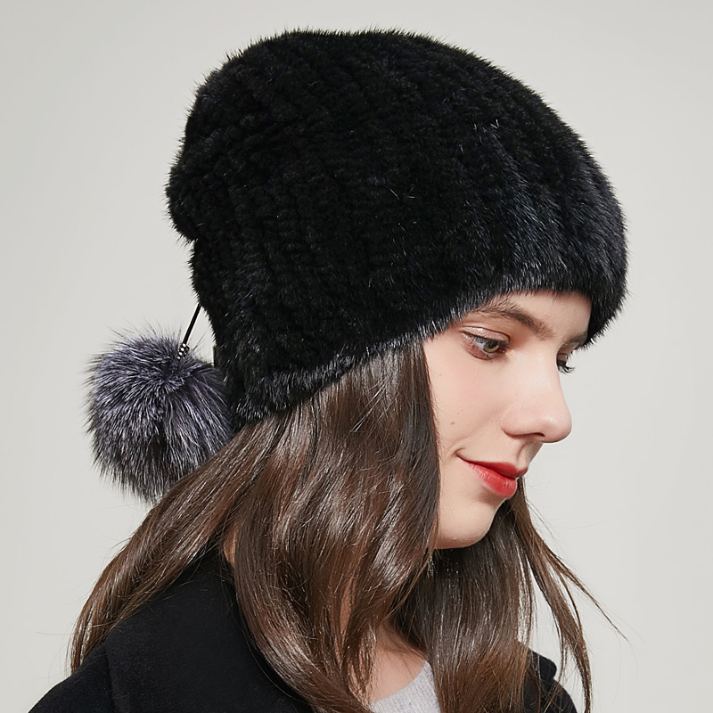 Natural Female Hat Winter Knit Real Mink Fur Caps And Beanie Fox Plush Ponytail Ear Potection Russia Hot Sale