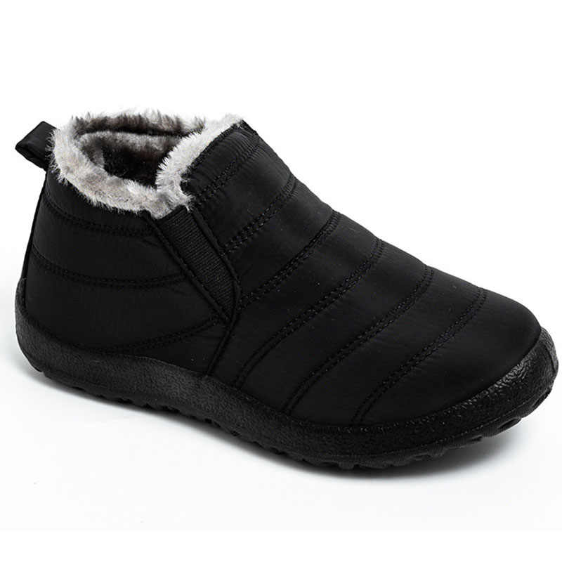 todaysunny Snow Boots Womens Men Waterproof Slip on Winter Anti Slip Women Ankle Boots Warm Fur Lined Man Outdoor Shoes Booties