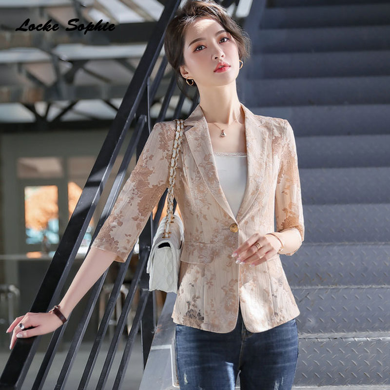 1pcs Women's Plus Size Blazers Coats 2020 Summer Cotton Lace Splicing Hollow Small Suits Jackets Ladies Skinny Blazers Suits