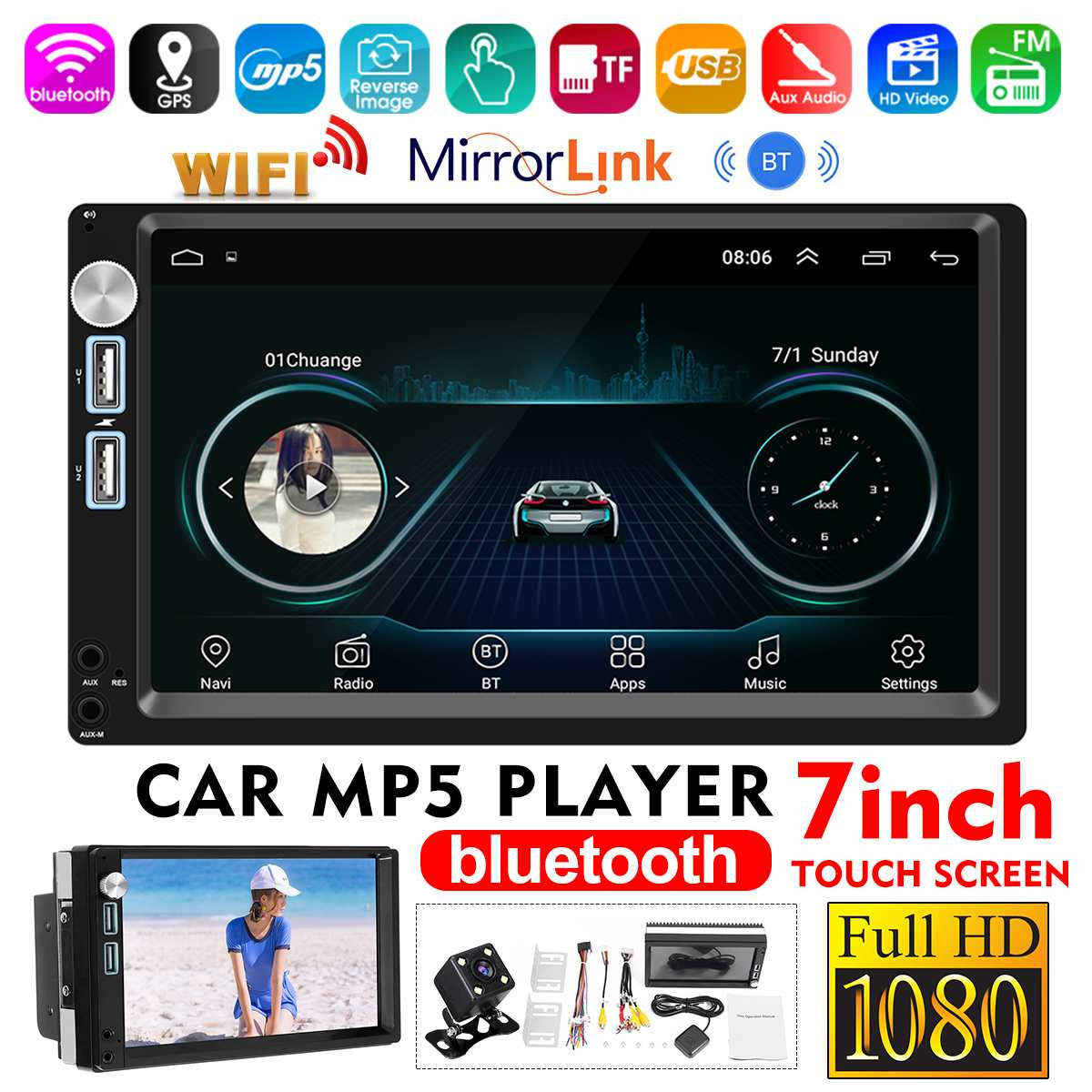"7"" 2 Din Android 8.1 Car Multimedia Player Car Radio Stereo MP5 Player Touch Screen FM bluetooth Wifi GPS Rear View Camera