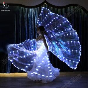 Image 4 - Neue Frauen Bauchtanz Isis Flügel Led Dance Schmetterling Flügel Licht Up Lampe Requisiten Weiß Stafe Leistung 360 Grad Sticks