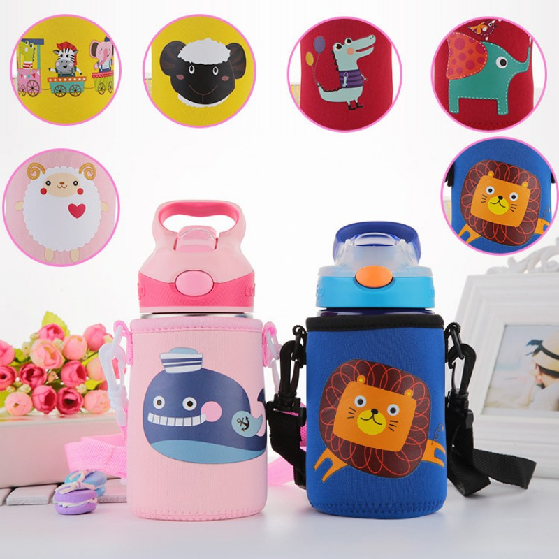 400ML-500ML Baby Cartoon Cups Wash Cups Water Cups For Children Kids Learn Drink Feeding Bottles Warmer Cover With Strap Rope