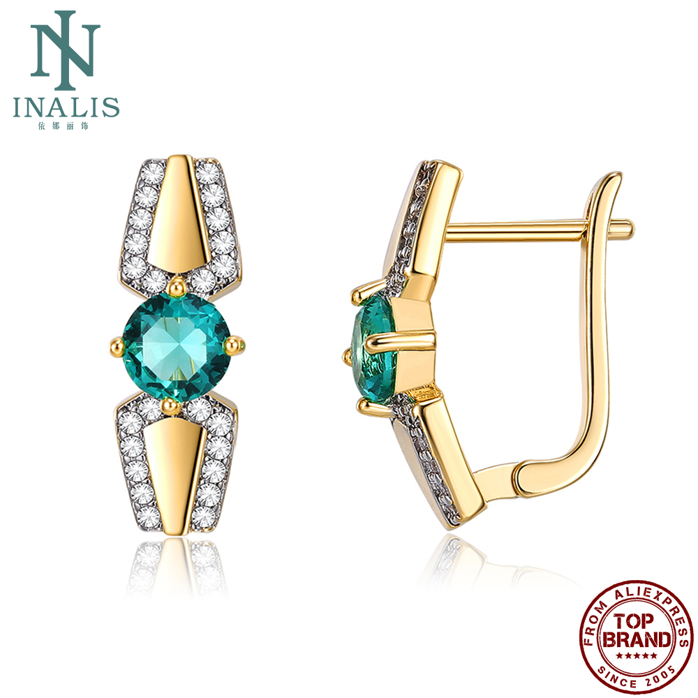 INALIS Romantic Stud Earrings Women Copper Plated Gold Color Separation Round Green Cubic Zirconia Female Anniversary Earring