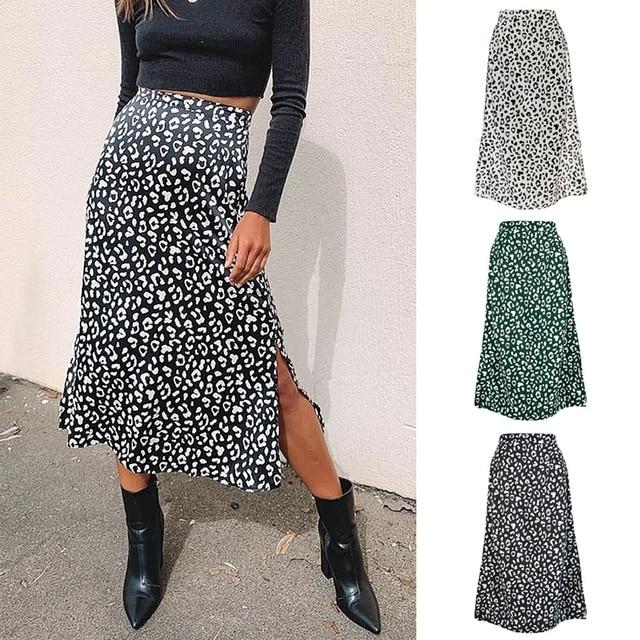 2020 New Sexy Leopard Print Chiffon Split Skirt   1
