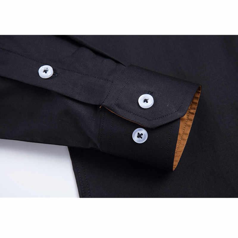 Visada Juana 2019 Pria Ukuran Plus Saku Lengan Panjang Klasik Pria Kemeja Formal Bisnis Shirt 100% Katun Lembut Pria pakaian